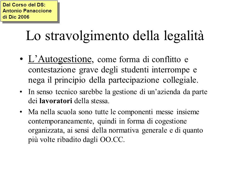 Lo stravolgimento della legalità LAutogestione, come forma di conflitto e contestazione grave degli studenti interrompe e nega il principio della partecipazione collegiale.