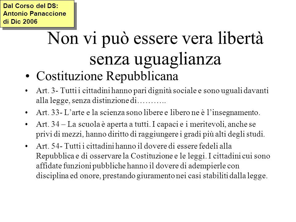 Non vi può essere vera libertà senza uguaglianza Costituzione Repubblicana Art.