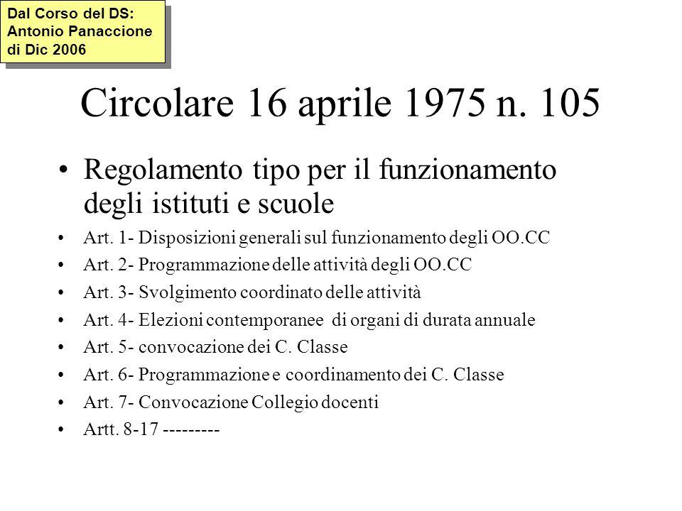 Circolare 16 aprile 1975 n. 105 Regolamento tipo per il funzionamento degli istituti e scuole Art.