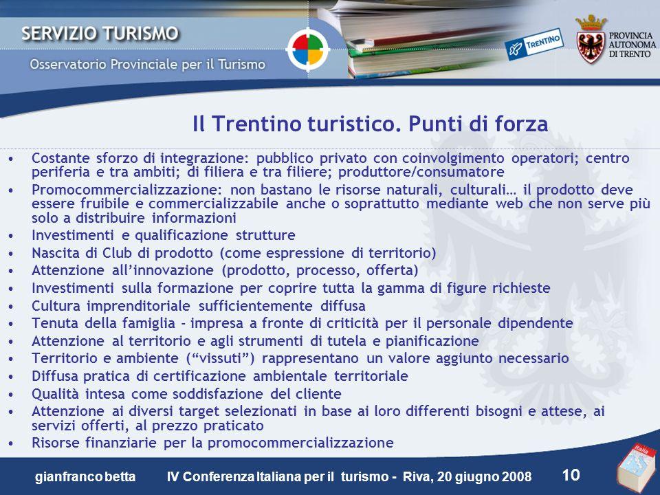 10 gianfranco betta IV Conferenza Italiana per il turismo - Riva, 20 giugno 2008 Il Trentino turistico. Punti di forza Costante sforzo di integrazione