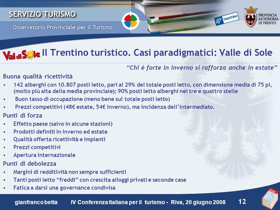 12 gianfranco betta IV Conferenza Italiana per il turismo - Riva, 20 giugno 2008 Il Trentino turistico. Casi paradigmatici: Valle di Sole Chi è forte