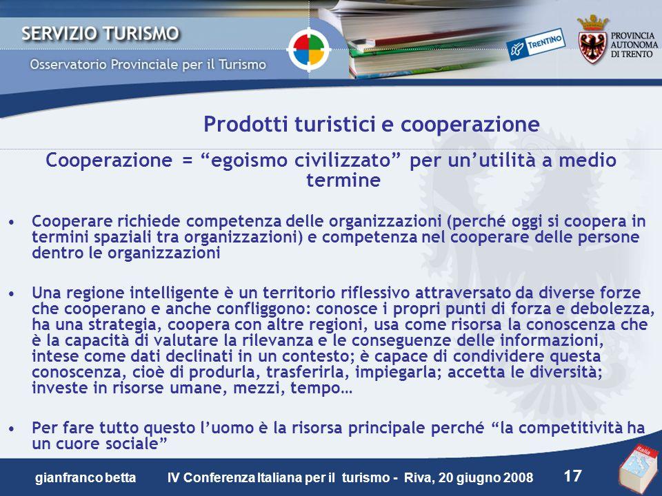 17 gianfranco betta IV Conferenza Italiana per il turismo - Riva, 20 giugno 2008 Prodotti turistici e cooperazione Cooperazione = egoismo civilizzato
