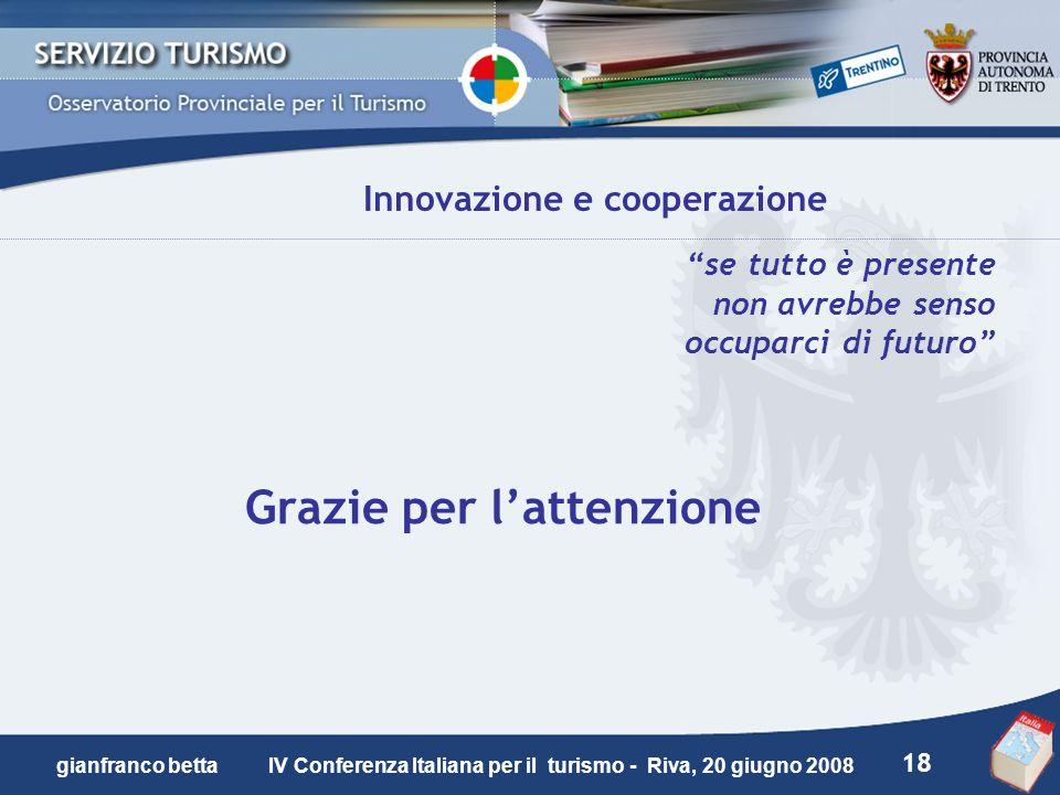 18 gianfranco betta IV Conferenza Italiana per il turismo - Riva, 20 giugno 2008 Innovazione e cooperazione se tutto è presente non avrebbe senso occu