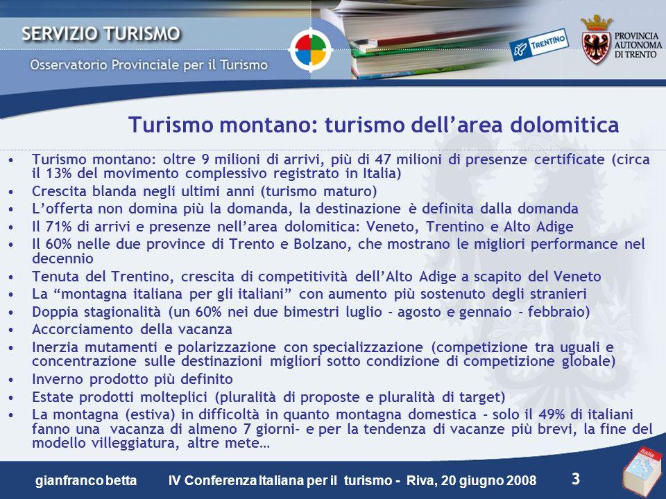 3 gianfranco betta IV Conferenza Italiana per il turismo - Riva, 20 giugno 2008 Turismo montano: turismo dellarea dolomitica Turismo montano: oltre 9