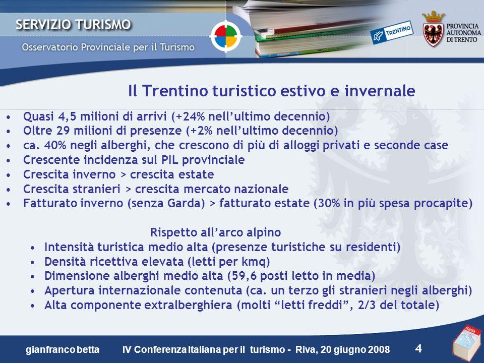 4 gianfranco betta IV Conferenza Italiana per il turismo - Riva, 20 giugno 2008 Il Trentino turistico estivo e invernale Quasi 4,5 milioni di arrivi (