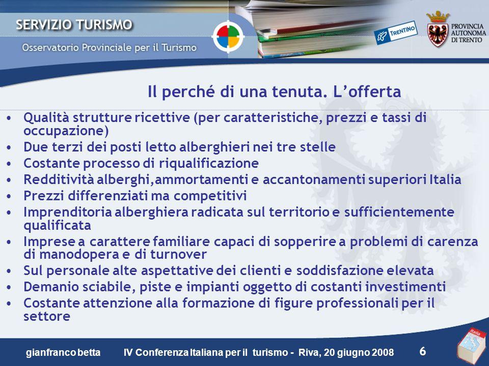 6 gianfranco betta IV Conferenza Italiana per il turismo - Riva, 20 giugno 2008 Il perché di una tenuta. Lofferta Qualità strutture ricettive (per car