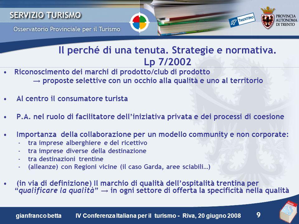 9 gianfranco betta IV Conferenza Italiana per il turismo - Riva, 20 giugno 2008 Il perché di una tenuta. Strategie e normativa. Lp 7/2002 Riconoscimen