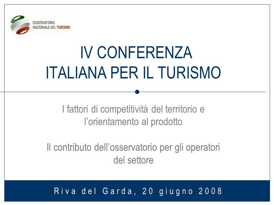 IV CONFERENZA ITALIANA PER IL TURISMO I fattori di competitività del territorio e lorientamento al prodotto Il contributo dellosservatorio per gli operatori del settore Riva del Garda, 20 giugno 2008