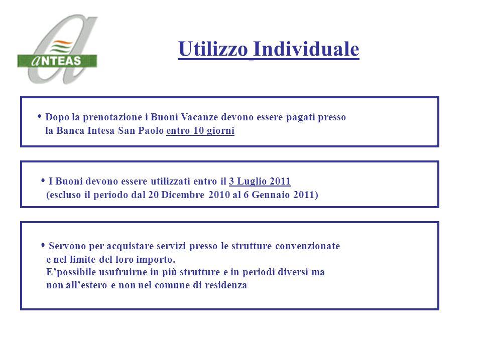 Dopo la prenotazione i Buoni Vacanze devono essere pagati presso la Banca Intesa San Paolo entro 10 giorni Utilizzo Individuale Servono per acquistare