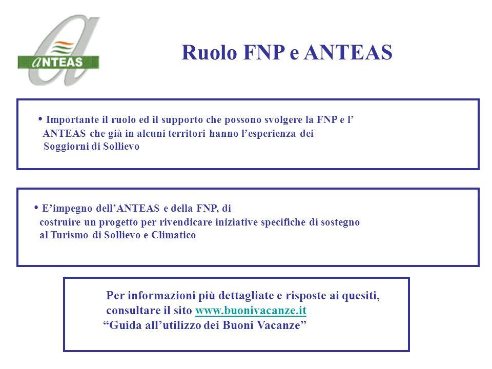 Importante il ruolo ed il supporto che possono svolgere la FNP e l ANTEAS che già in alcuni territori hanno lesperienza dei Soggiorni di Sollievo Ruol