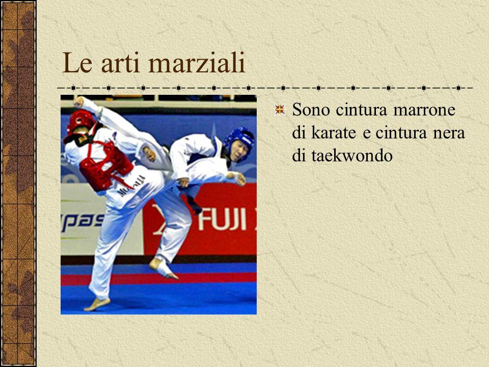 Le arti marziali Sono cintura marrone di karate e cintura nera di taekwondo
