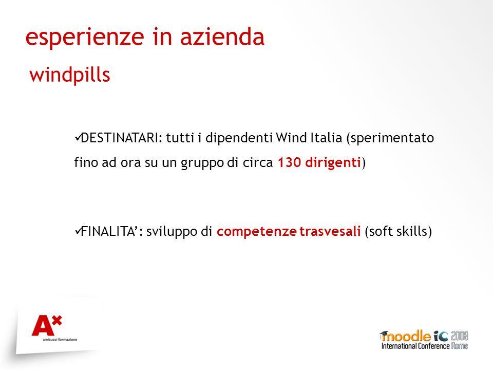 esperienze in azienda windpills DESTINATARI: tutti i dipendenti Wind Italia (sperimentato fino ad ora su un gruppo di circa 130 dirigenti) FINALITA: sviluppo di competenze trasvesali (soft skills)