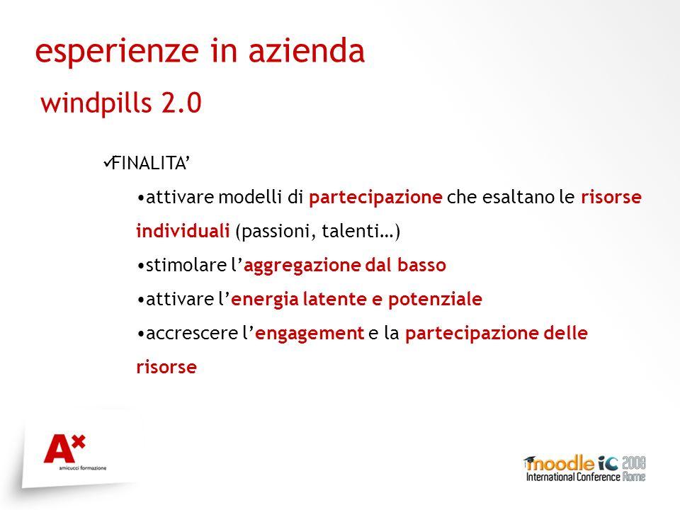 esperienze in azienda windpills 2.0 FINALITA attivare modelli di partecipazione che esaltano le risorse individuali (passioni, talenti…) stimolare laggregazione dal basso attivare lenergia latente e potenziale accrescere lengagement e la partecipazione delle risorse