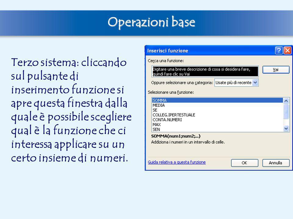 Terzo sistema: cliccando sul pulsante di inserimento funzione si apre questa finestra dalla quale è possibile scegliere qual è la funzione che ci inte