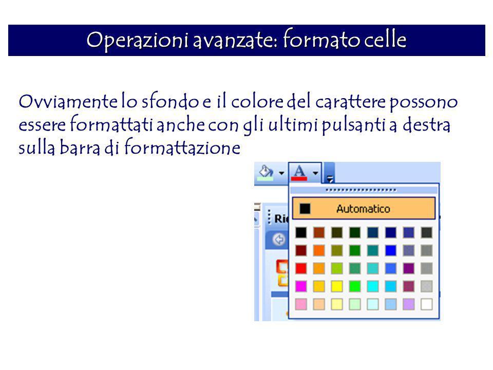 Operazioni avanzate: formato celle Ovviamente lo sfondo e il colore del carattere possono essere formattati anche con gli ultimi pulsanti a destra sul