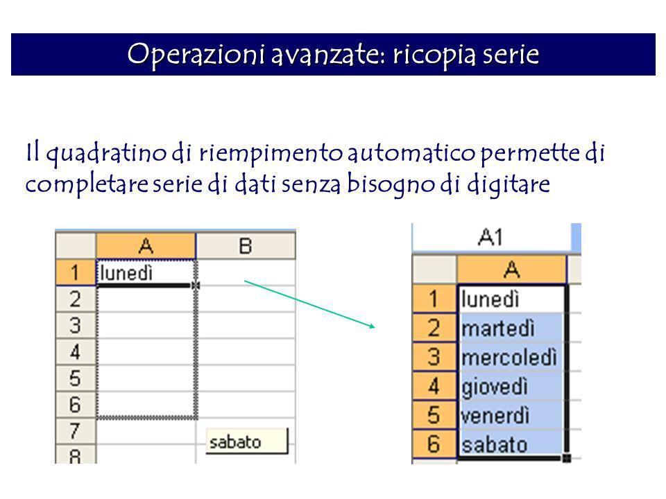 Operazioni avanzate: ricopia serie Il quadratino di riempimento automatico permette di completare serie di dati senza bisogno di digitare