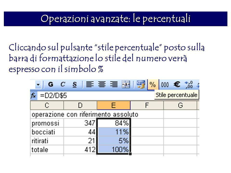 Operazioni avanzate: le percentuali Cliccando sul pulsante stile percentuale posto sulla barra di formattazione lo stile del numero verrà espresso con