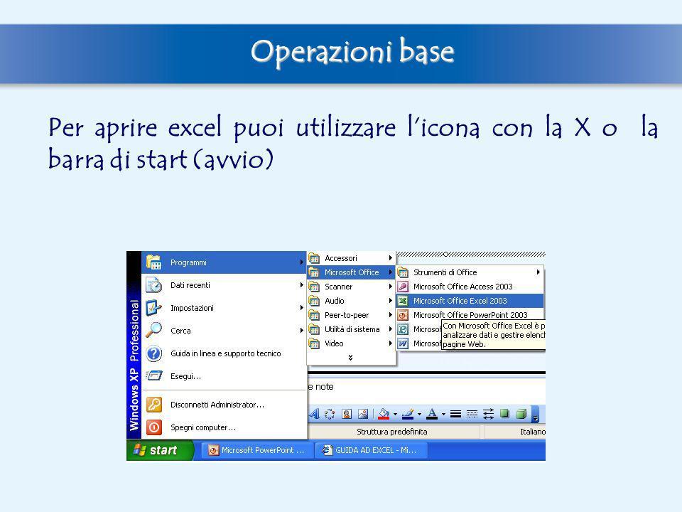Per aprire excel puoi utilizzare licona con la X o la barra di start (avvio) Operazioni base