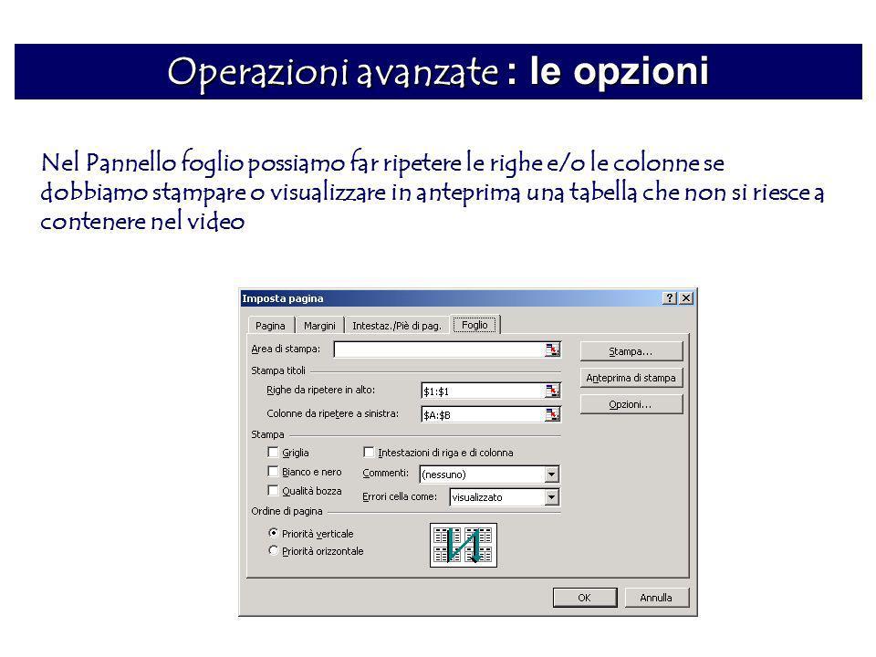 Operazioni avanzate : le opzioni Nel Pannello foglio possiamo far ripetere le righe e/o le colonne se dobbiamo stampare o visualizzare in anteprima un