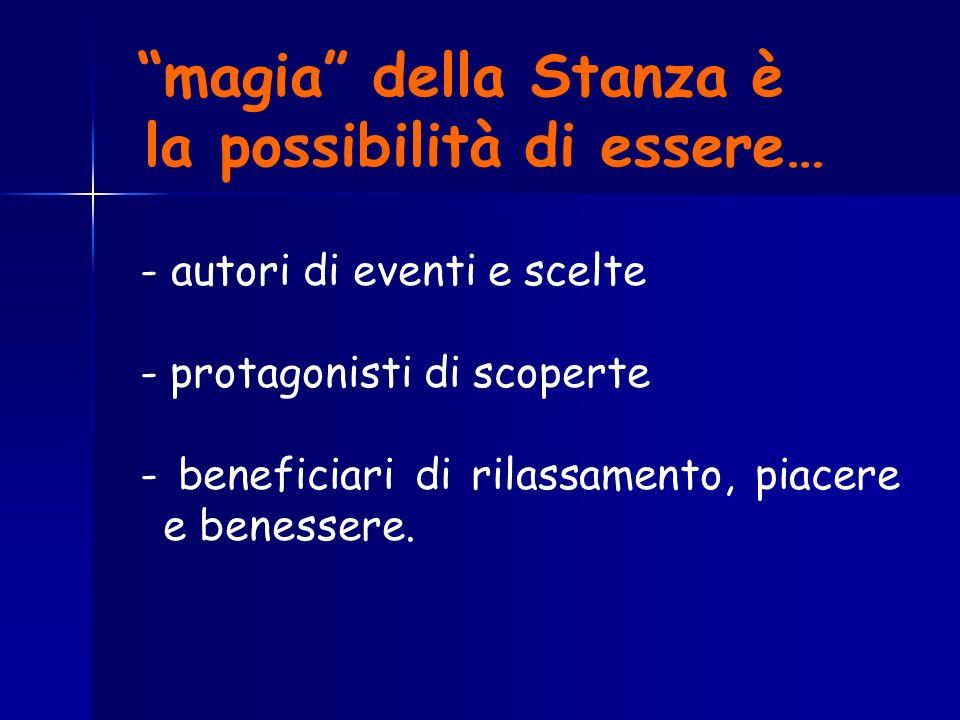 magia della Stanza è la possibilità di essere… - autori di eventi e scelte - protagonisti di scoperte - beneficiari di rilassamento, piacere e benesse