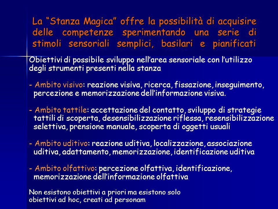 La Stanza Magica offre la possibilità di acquisire delle competenze sperimentando una serie di stimoli sensoriali semplici, basilari e pianificati Obi
