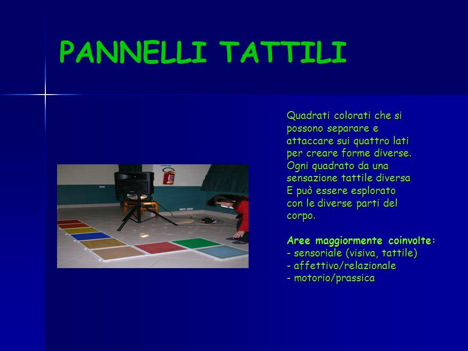 PANNELLI TATTILI Quadrati colorati che si possono separare e attaccare sui quattro lati per creare forme diverse. Ogni quadrato da una sensazione tatt