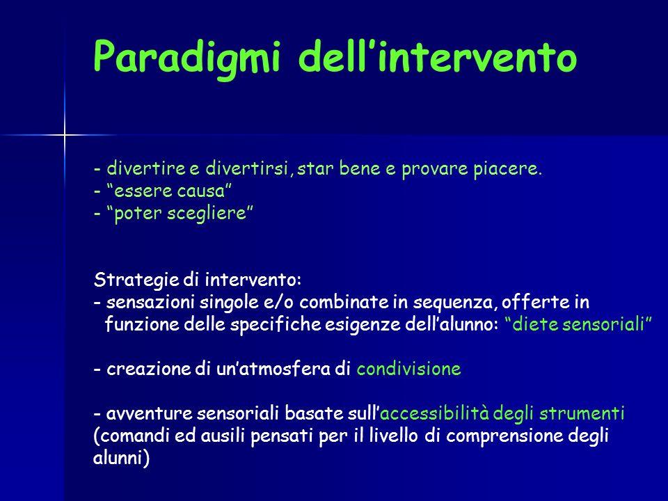 Paradigmi dellintervento - divertire e divertirsi, star bene e provare piacere. - essere causa - poter scegliere Strategie di intervento: - sensazioni