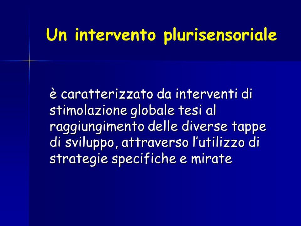 Un intervento plurisensoriale è caratterizzato da interventi di stimolazione globale tesi al raggiungimento delle diverse tappe di sviluppo, attravers