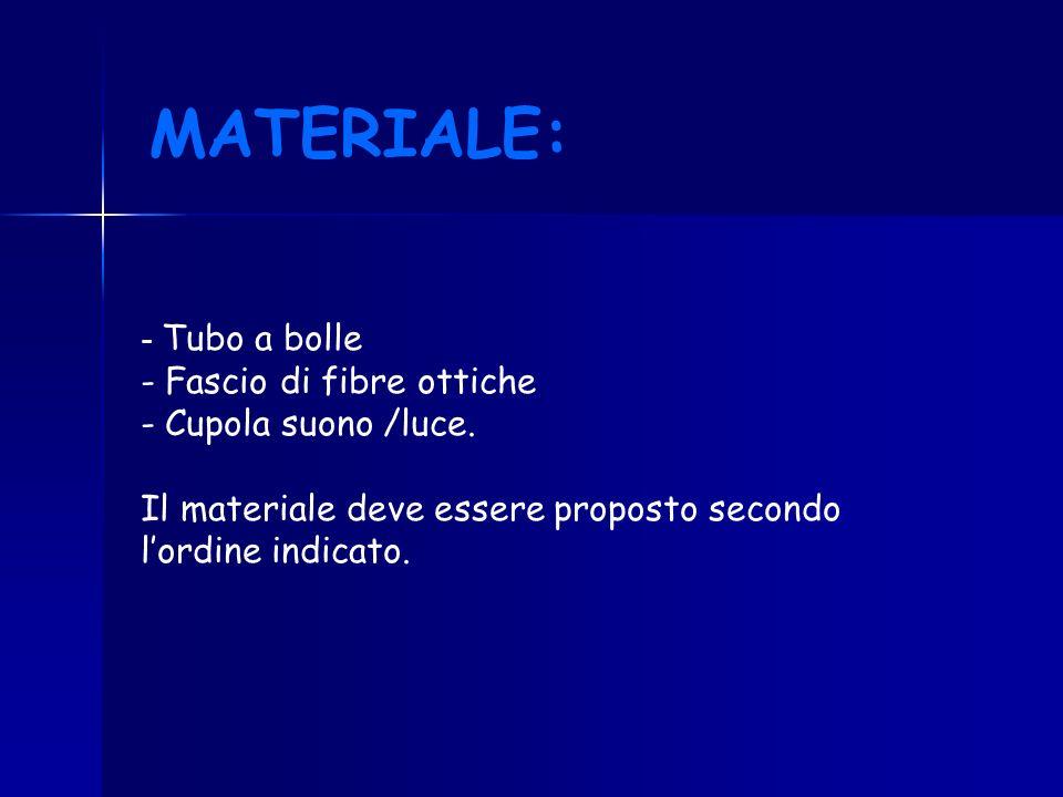 - Tubo a bolle - Fascio di fibre ottiche - Cupola suono /luce. Il materiale deve essere proposto secondo lordine indicato. MATERIALE: