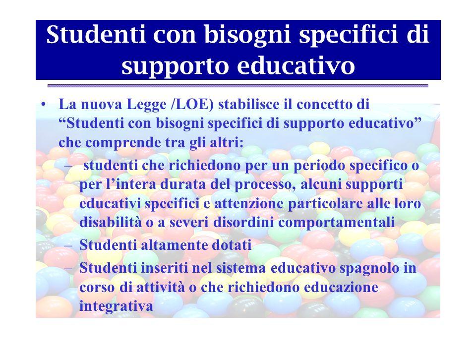 Studenti con bisogni specifici di supporto educativo La nuova Legge /LOE) stabilisce il concetto di Studenti con bisogni specifici di supporto educati