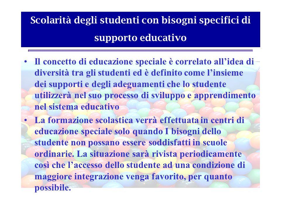 Scolarità degli studenti con bisogni specifici di supporto educativo Il concetto di educazione speciale è correlato allidea di diversità tra gli stude