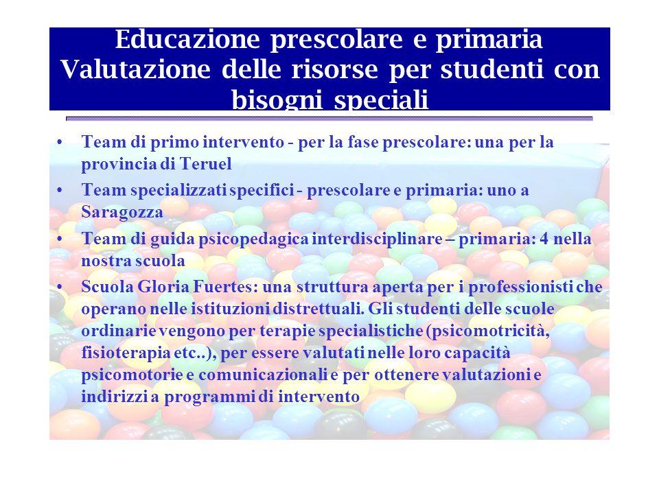 Educazione prescolare e primaria Valutazione delle risorse per studenti con bisogni speciali Team di primo intervento - per la fase prescolare: una pe