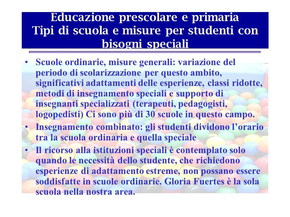 Educazione prescolare e primaria Tipi di scuola e misure per studenti con bisogni speciali Scuole ordinarie, misure generali: variazione del periodo d