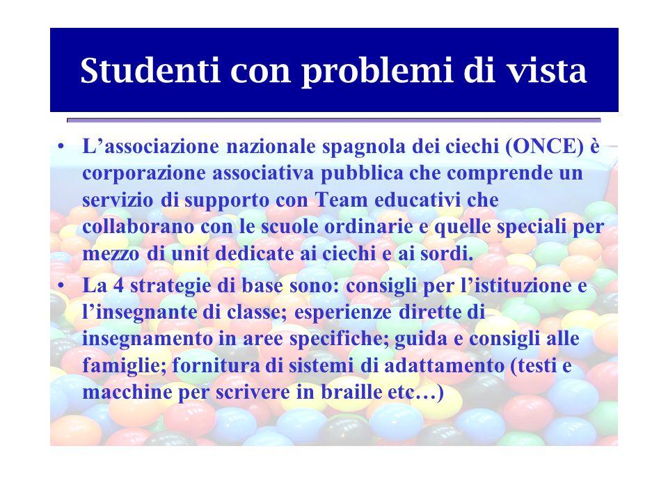 Studenti con problemi di vista Lassociazione nazionale spagnola dei ciechi (ONCE) è corporazione associativa pubblica che comprende un servizio di sup