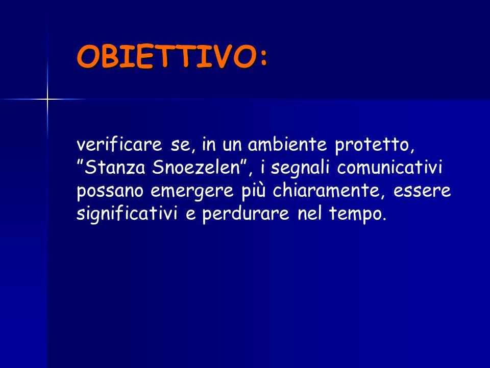 verificare se, in un ambiente protetto, Stanza Snoezelen, i segnali comunicativi possano emergere più chiaramente, essere significativi e perdurare ne