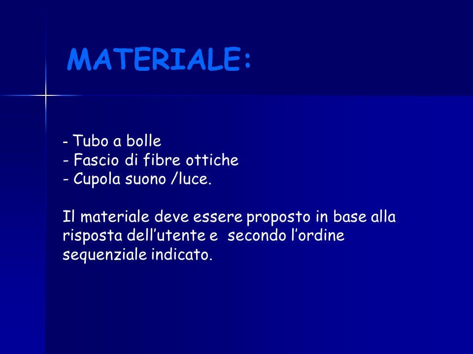- Tubo a bolle - Fascio di fibre ottiche - Cupola suono /luce. Il materiale deve essere proposto in base alla risposta dellutente e secondo lordine se