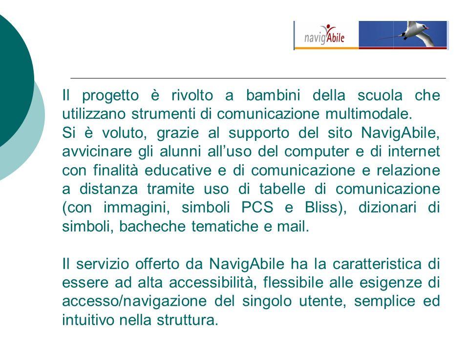 Il progetto è rivolto a bambini della scuola che utilizzano strumenti di comunicazione multimodale.