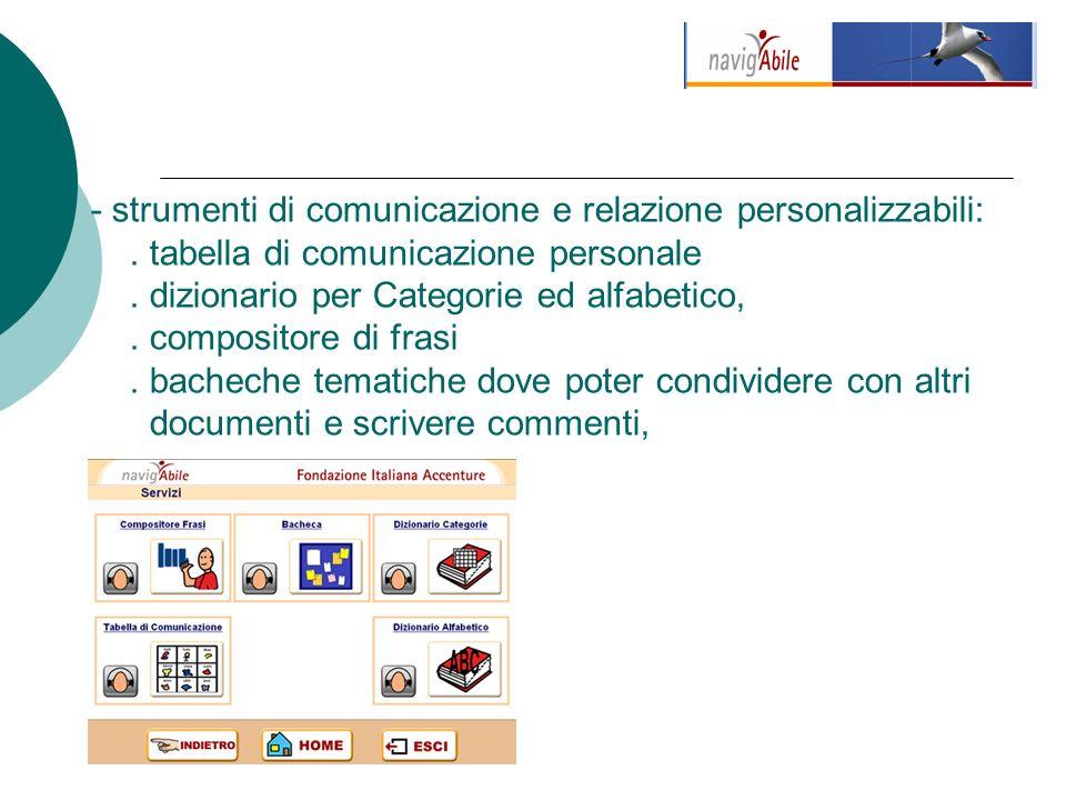 - strumenti di comunicazione e relazione personalizzabili:.