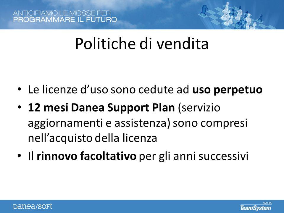 Politiche di vendita Le licenze duso sono cedute ad uso perpetuo 12 mesi Danea Support Plan (servizio aggiornamenti e assistenza) sono compresi nellacquisto della licenza Il rinnovo facoltativo per gli anni successivi