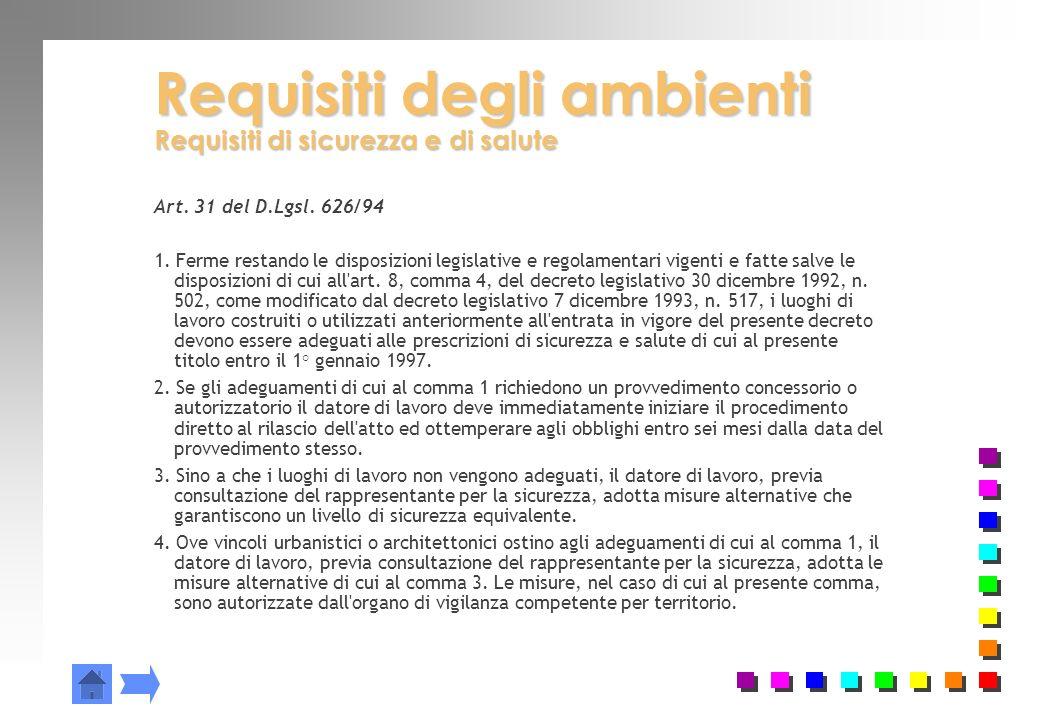 Requisiti degli ambienti Requisiti di sicurezza e di salute Art. 31 del D.Lgsl. 626/94 1. Ferme restando le disposizioni legislative e regolamentari v