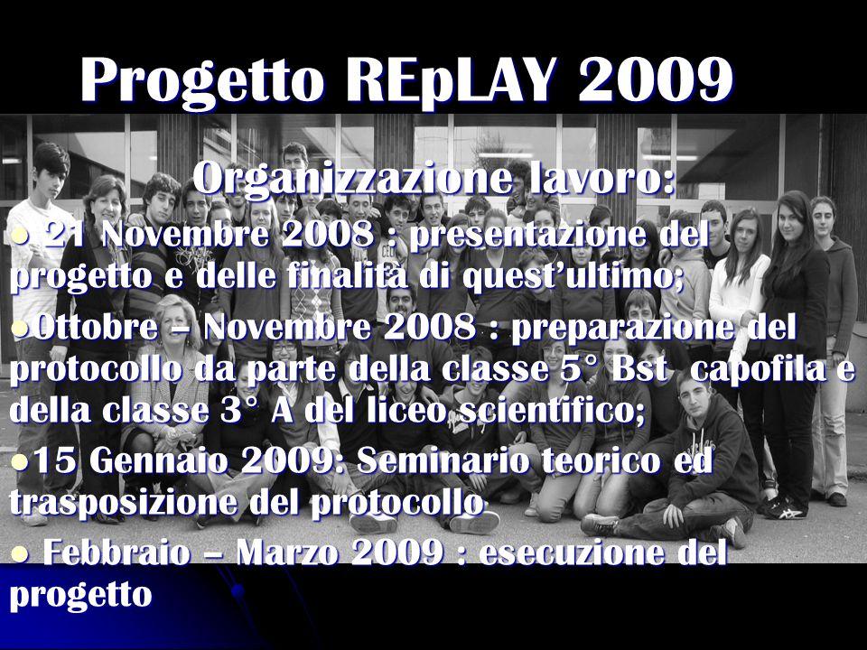Progetto REpLAY 2009 Organizzazione lavoro: 21 Novembre 2008 : presentazione del progetto e delle finalità di questultimo; 21 Novembre 2008 : presenta