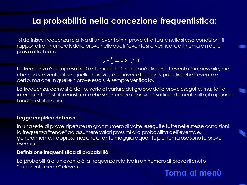 La probabilità nella concezione frequentistica: Si definisce frequenza relativa di un evento in n prove effettuate nelle stesse condizioni, il rapport