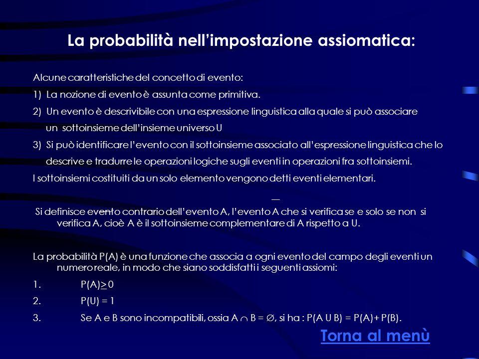 La probabilità nellimpostazione assiomatica: Alcune caratteristiche del concetto di evento: 1) La nozione di evento è assunta come primitiva. 2) Un ev