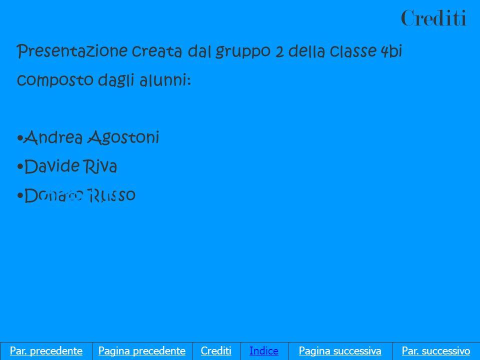 Crediti Presentazione creata dal gruppo 2 della classe 4bi composto dagli alunni: Andrea Agostoni Davide Riva Donato Russo Par.
