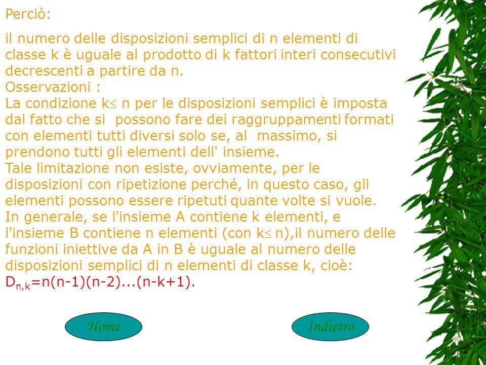 HomeAvantiIndietro Le disposizioni si dicono: a) Semplici, se ogni raggruppamento contiene elementi distinti fra loro; il loro numero si indica con D