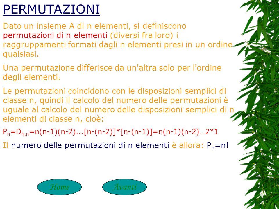 HomeIndietro Perciò: il numero delle disposizioni semplici di n elementi di classe k è uguale al prodotto di k fattori interi consecutivi decrescenti