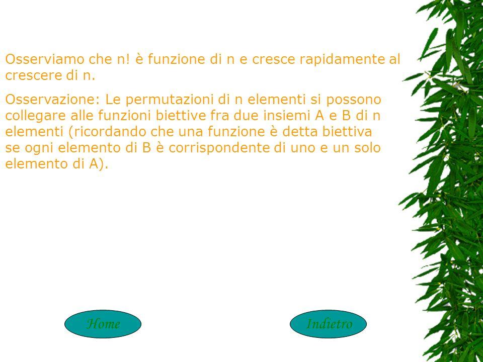 PERMUTAZIONI Dato un insieme A di n elementi, si definiscono permutazioni di n elementi (diversi fra loro) i raggruppamenti formati dagli n elementi p
