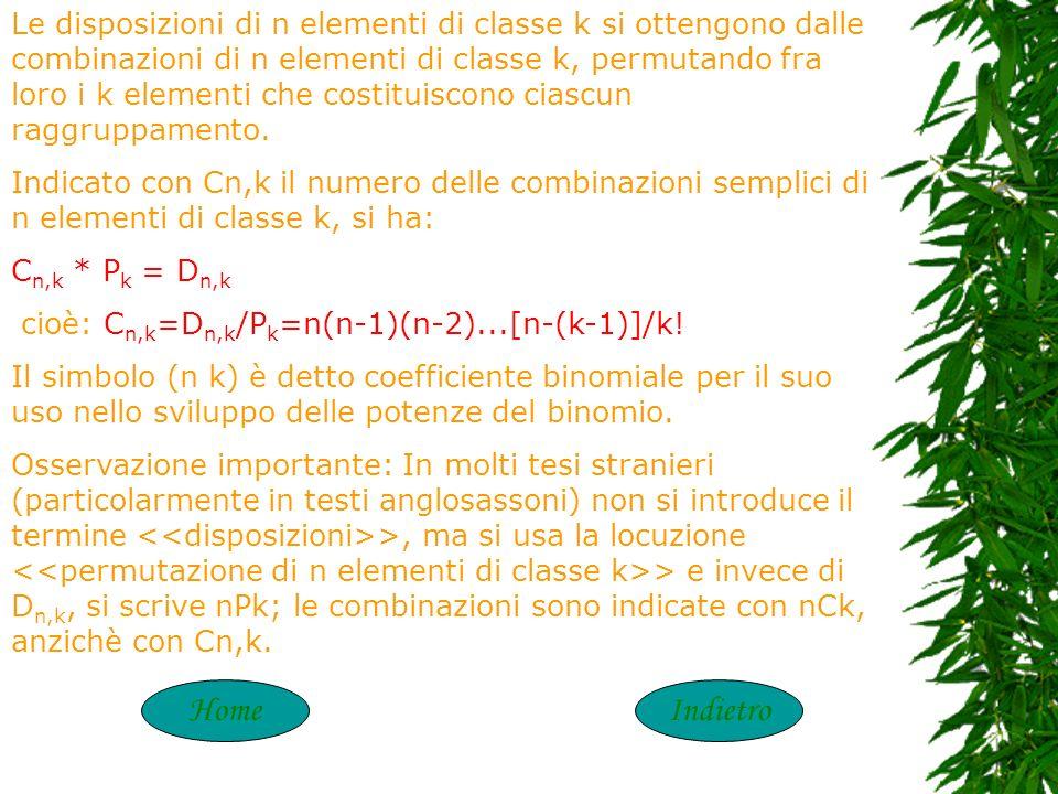 COMBINAZIONI Dato un insime A di n elementi, si definiscono combinazioni semplici degli n elementi di classe k (con k n) i raggruppamenti di k element