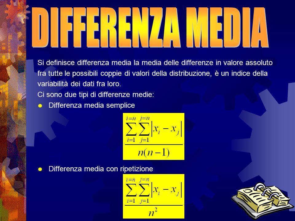 Si definisce differenza media la media delle differenze in valore assoluto fra tutte le possibili coppie di valori della distribuzione, è un indice de