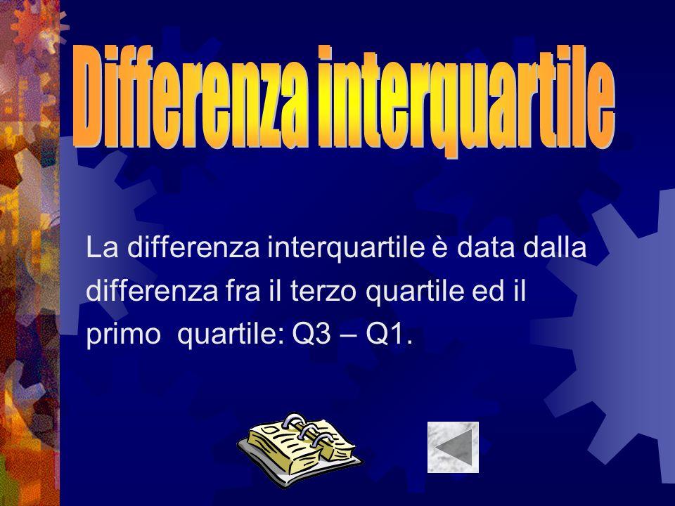 La differenza interquartile è data dalla differenza fra il terzo quartile ed il primo quartile: Q3 – Q1.